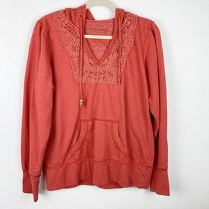 Maurice's Coral Hoodie Sweater Large